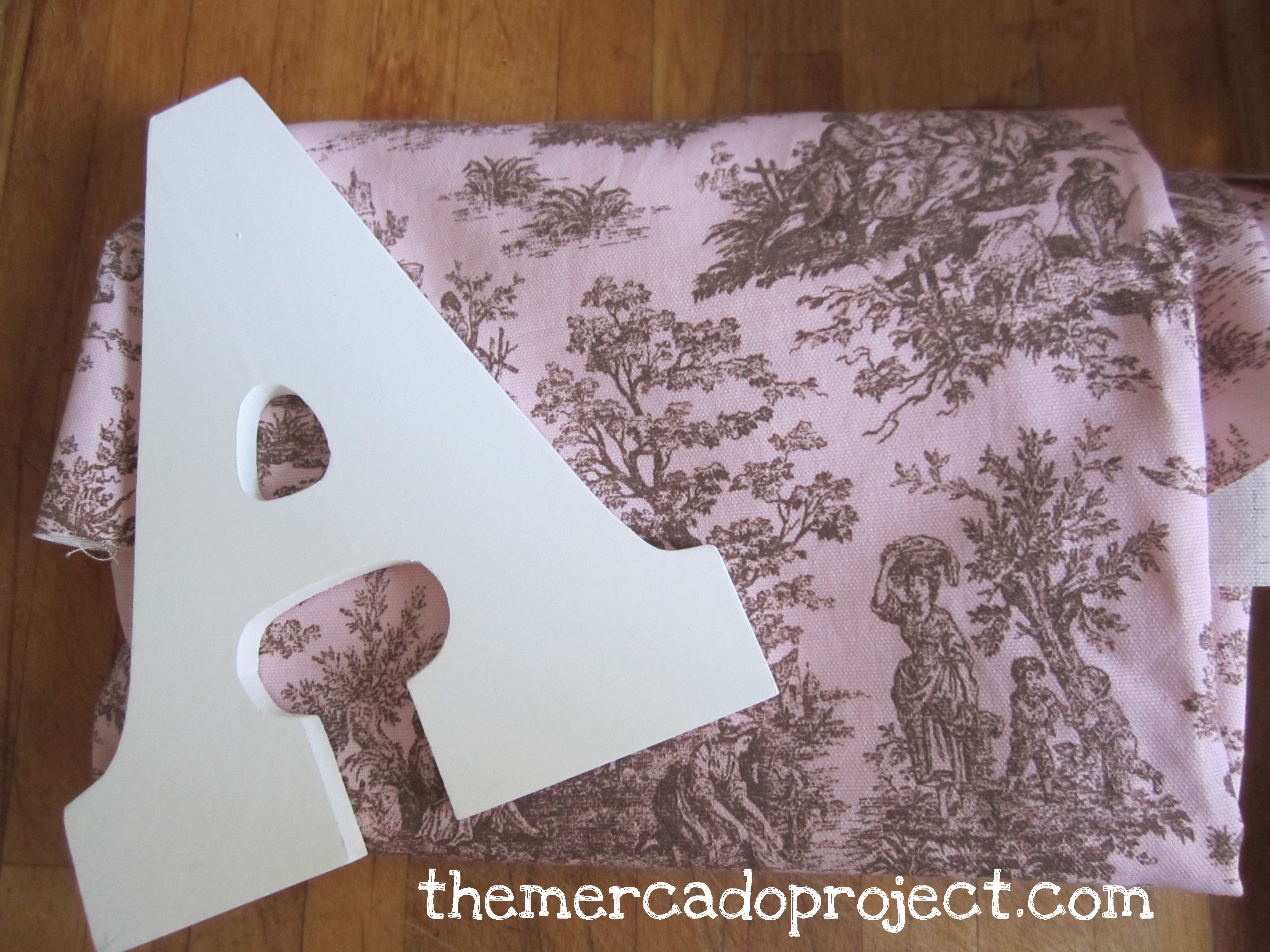 DIY fabric covered wooden letters | themercadoproject