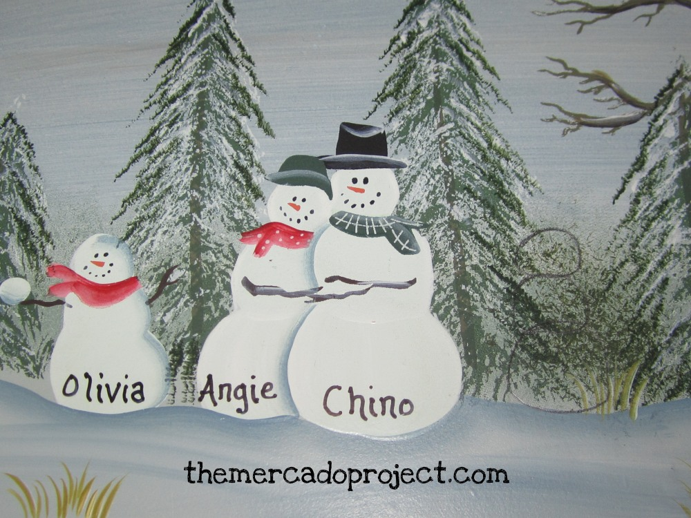 DIY - Updating Snowman Family Wood Plaque  (2/6)