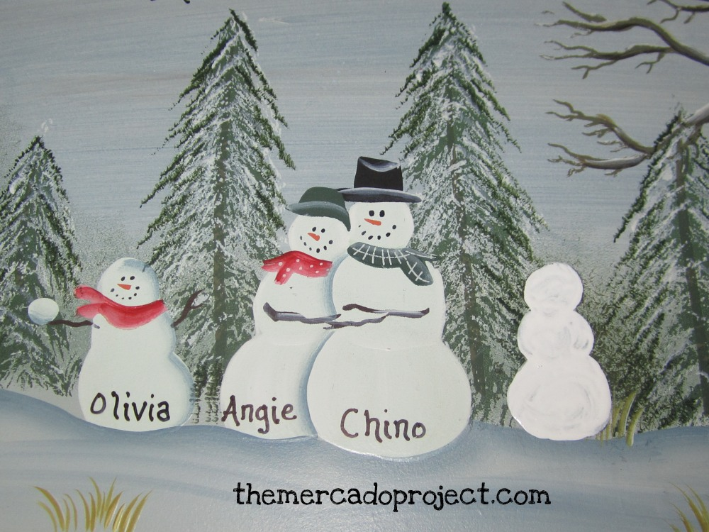 DIY - Updating Snowman Family Wood Plaque  (4/6)