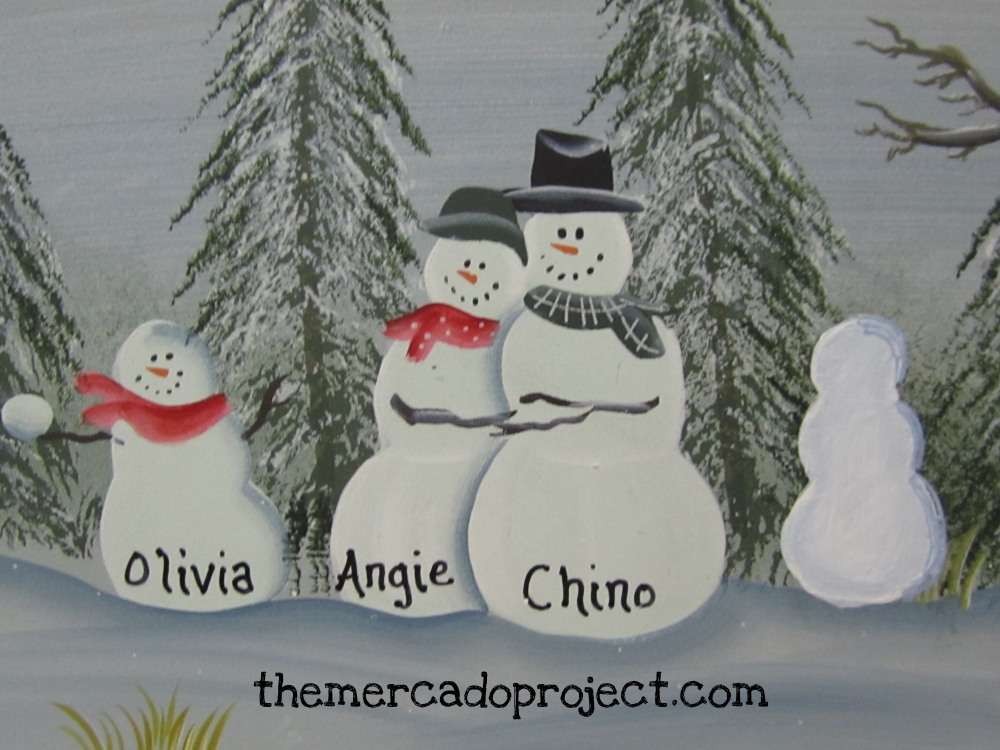 DIY - Updating Snowman Family Wood Plaque  (5/6)