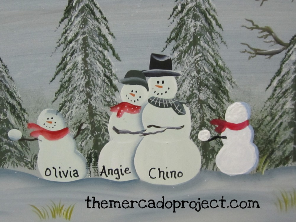 DIY - Updating Snowman Family Wood Plaque  (6/6)